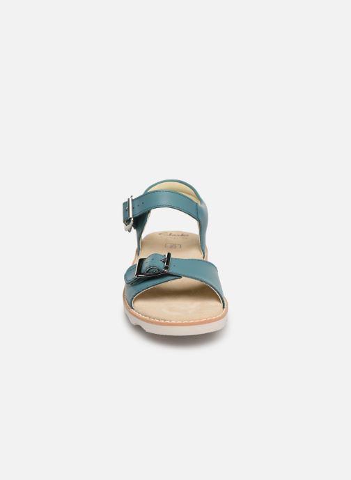 Sandales et nu-pieds Clarks Crown Bloom K Bleu vue portées chaussures