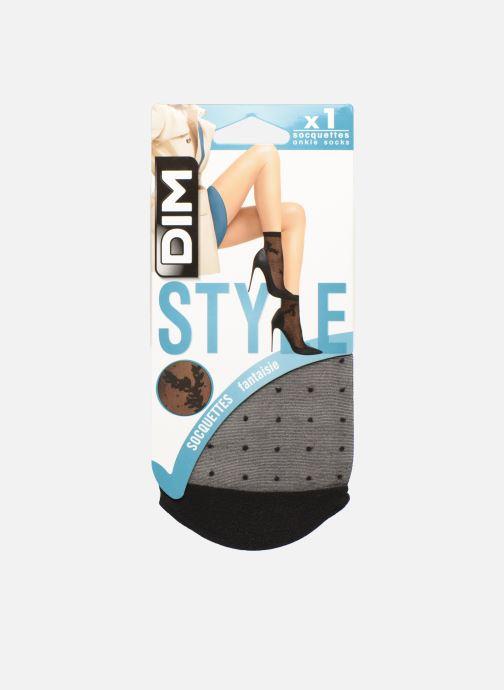 Sokken en panty's Dim Socquettes Laurier & Plumetis 20D Zwart detail