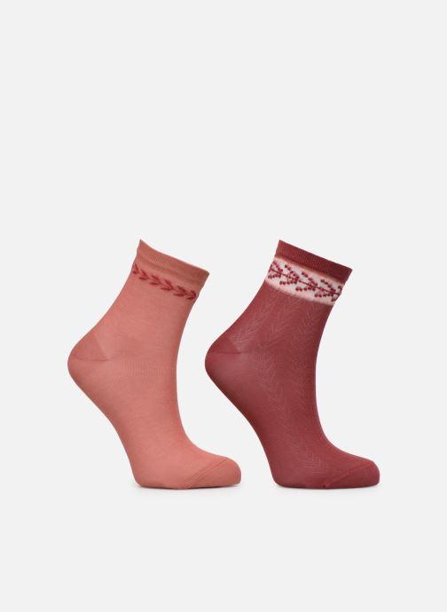 Socks & tights Dim Socquette Coton Style Bracelet Effet Brodé Lot de 2 Red model view