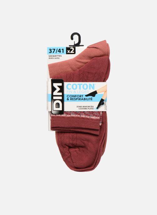 Socks & tights Dim Socquette Coton Style Bracelet Effet Brodé Lot de 2 Red detailed view/ Pair view
