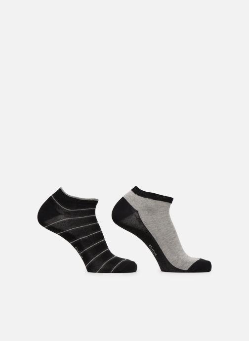 Chaussettes et collants Dim Socquette Courte Coton Rayures Lot de 2 Noir vue portées chaussures