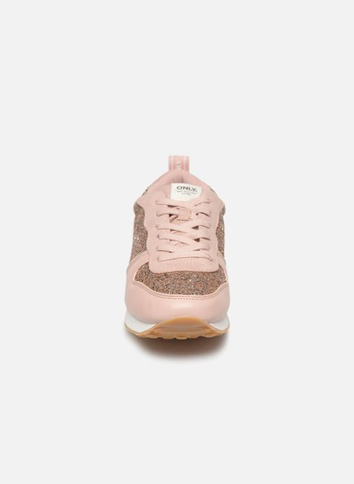 Baskets ONLY onlSILLIE GLITTER SNEAKER Rose vue portées chaussures