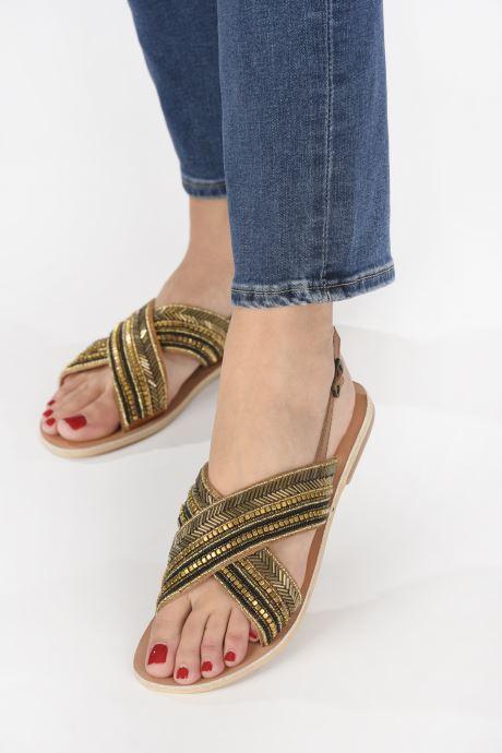 Sandales et nu-pieds Georgia Rose Kaperla Or et bronze vue bas / vue portée sac
