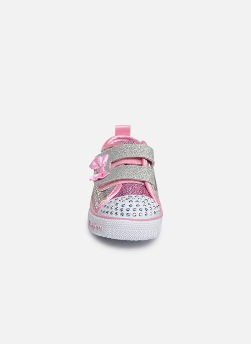 Baskets Skechers Shuffle Lite Mini Mermaid Argent vue portées chaussures