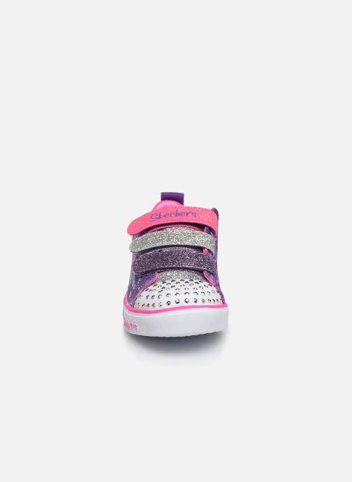 Baskets Skechers Sparkle Lite Rainbow Brights Violet vue portées chaussures