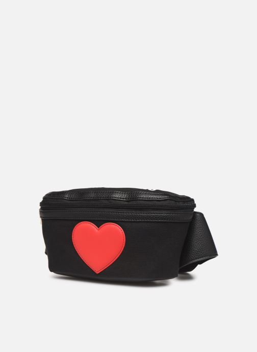 Petite Maroquinerie Love Moschino THE CANVAS HEARTS WAISTABG Noir vue portées chaussures