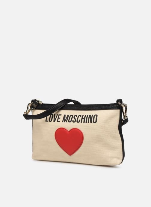 Sacs à main Love Moschino THE CANVAS HEARTS CLUTCH Blanc vue portées chaussures