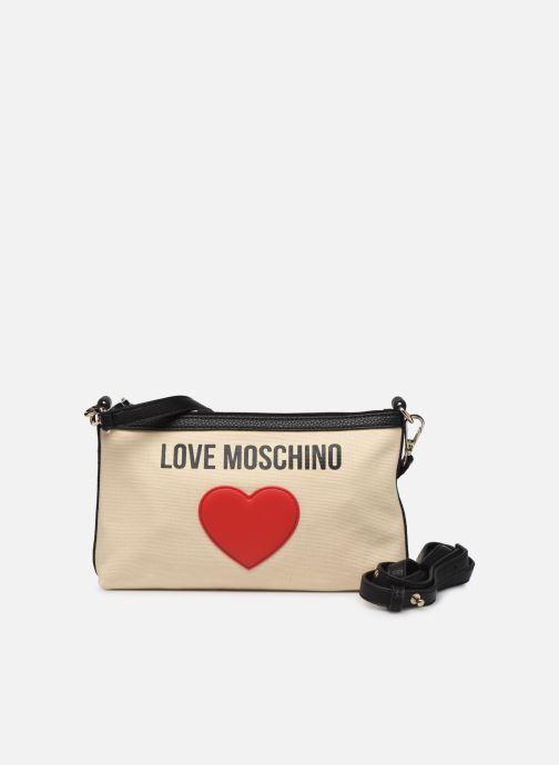 Handtaschen Love Moschino THE CANVAS HEARTS CLUTCH weiß ansicht von links