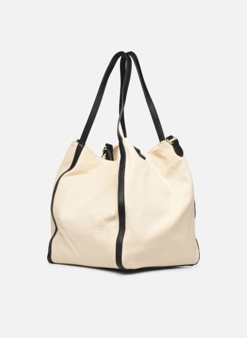 Sacs à main Love Moschino THE CANVAS HEARTS TOTE Blanc vue droite