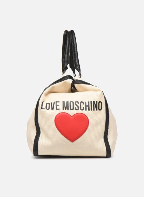 Bolsos de mano Love Moschino THE CANVAS HEARTS TOTE Blanco vista lateral izquierda