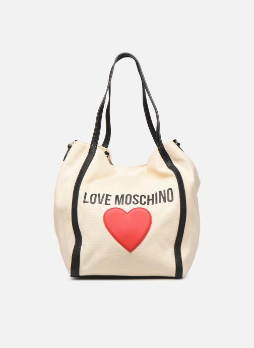 Bolsos de mano Love Moschino THE CANVAS HEARTS TOTE Blanco vista de detalle / par