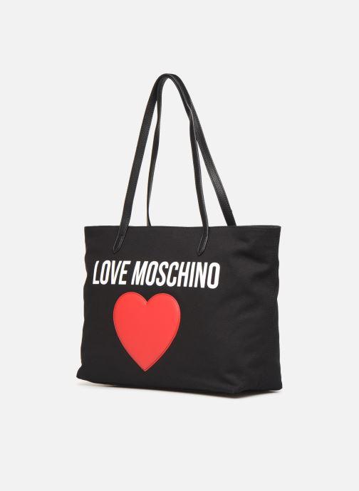 Sacs à main Love Moschino THE CANVAS HEARTS CABAS Noir vue portées chaussures