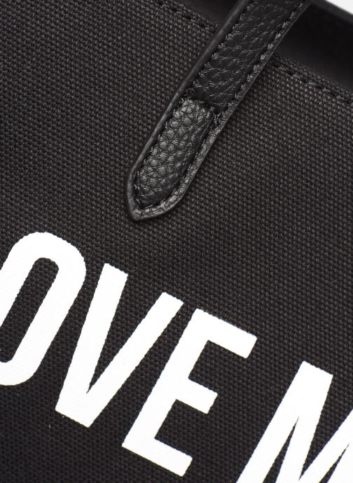 Handtaschen Love Moschino THE CANVAS HEARTS CABAS schwarz ansicht von links