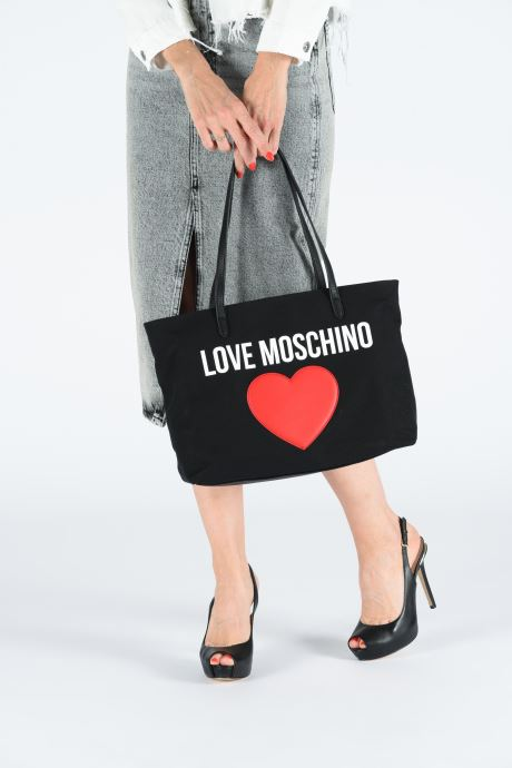Handbags Love Moschino THE CANVAS HEARTS CABAS Black view from underneath / model view
