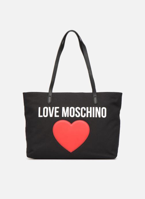 Bolsos de mano Love Moschino THE CANVAS HEARTS CABAS Negro vista de detalle / par