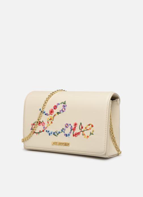 Sacs à main Love Moschino EVENING BAG FLOWERS LOVE Blanc vue portées chaussures