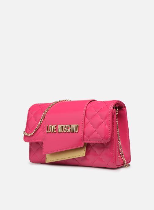 Handtaschen Love Moschino NEW SHINY QUILTED CROSSBODY rosa schuhe getragen