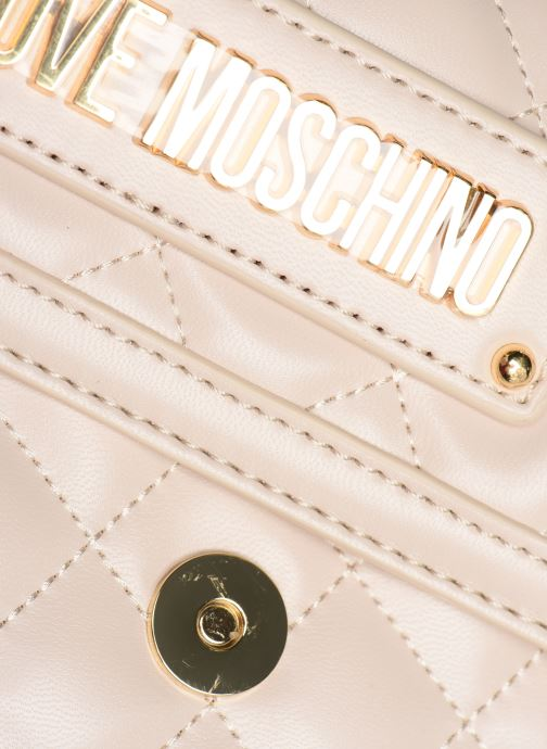 Zaini Love Moschino NEW SHINY QUILTED BACKPACK Beige immagine sinistra