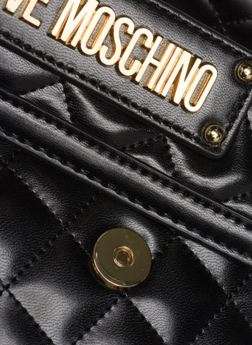 Mochilas Love Moschino NEW SHINY QUILTED BACKPACK Negro vista lateral izquierda