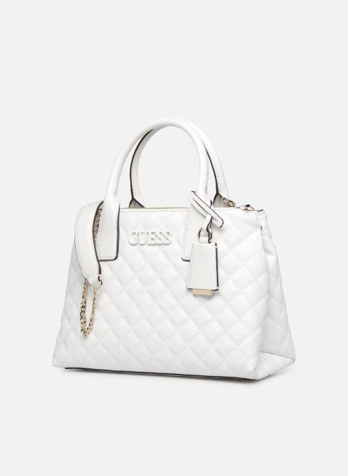Handbags Guess ELLIANA STATUS SATCHEL White model view