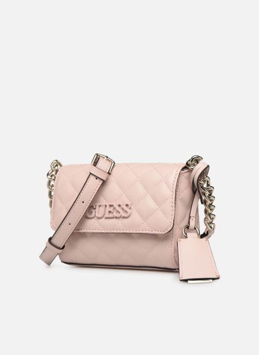 Handtaschen Guess ELLIANA MINI CROSSBODY FLAP rosa schuhe getragen