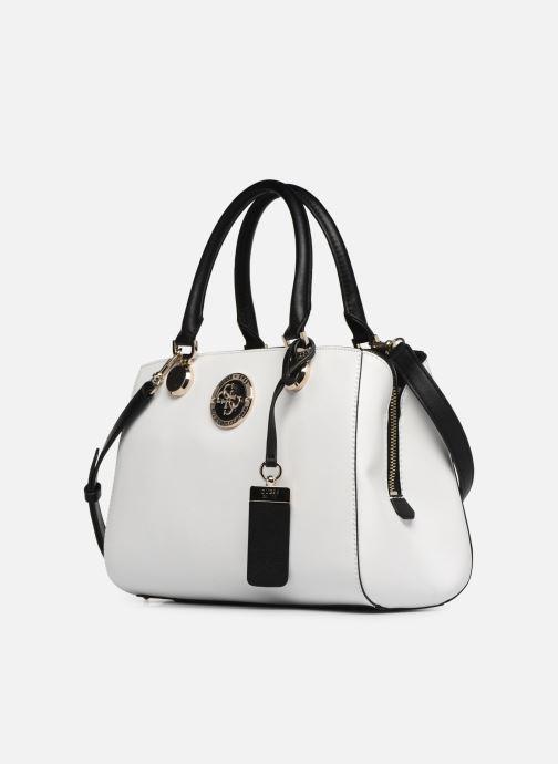 Handtaschen Guess LANDON DOME SATCHEL weiß schuhe getragen