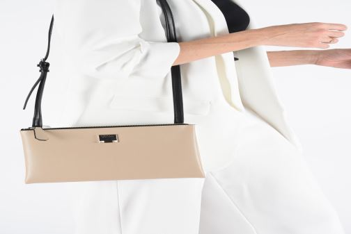 Handbags Guess LENIA MINI DOUBLE ZIP CROSSBODY White view from above