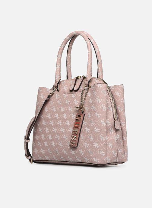 Handtaschen Guess MACI LARGE GIRLFRIEND SATCHEL rosa schuhe getragen