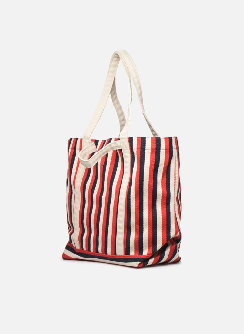 Handbags Bensimon TOTE RAYURES TRANSAT Red view from the right
