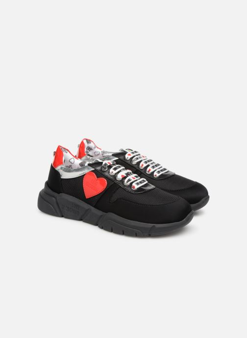 Trainers Love Moschino Patch Heart Running Black 3/4 view