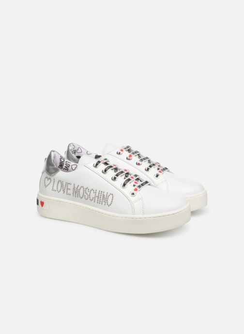 Trainers Love Moschino Studs Sneaker White 3/4 view