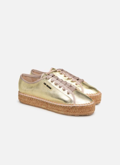 Espadrilles Love Moschino Rope Label Lace Up Or et bronze vue 3/4