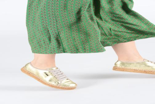Espadrilles Love Moschino Rope Label Lace Up Bronze and Gold view from underneath / model view
