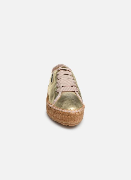 Espadrilles Love Moschino Rope Label Lace Up Or et bronze vue portées chaussures