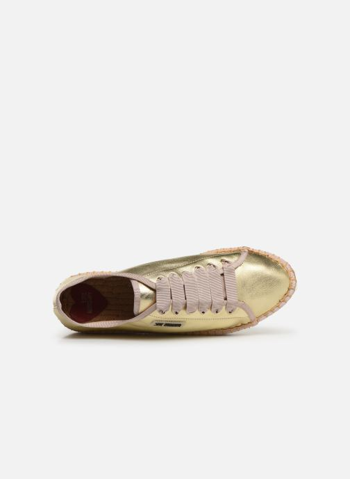 Espadrilles Love Moschino Rope Label Lace Up Bronze and Gold view from the left
