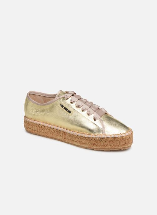 Espadrilles Love Moschino Rope Label Lace Up Bronze and Gold detailed view/ Pair view