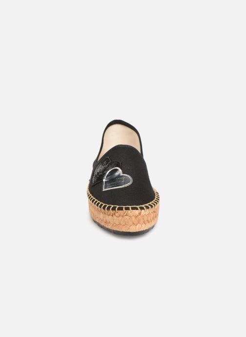Espadrilles Love Moschino Rope Multi Hearts Espadrille Noir vue portées chaussures