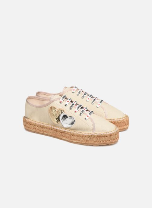 Espadrilles Love Moschino Rope Multi Hearts Lace Up Beige vue 3/4