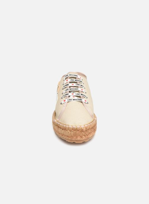 Espadrilles Love Moschino Rope Multi Hearts Lace Up Beige vue portées chaussures