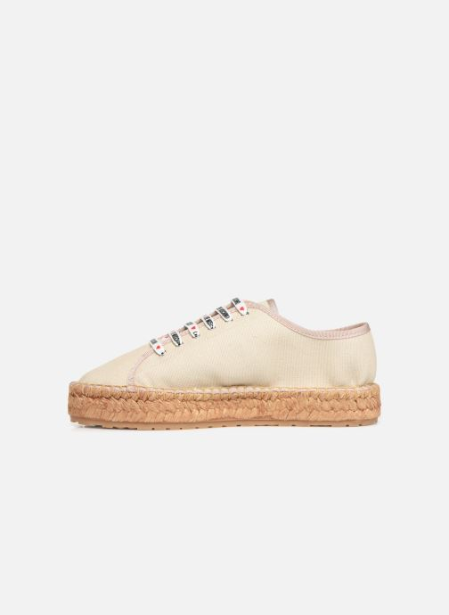 Espadrilles Love Moschino Rope Multi Hearts Lace Up Beige vue face