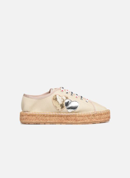 Espadrilles Love Moschino Rope Multi Hearts Lace Up Beige vue derrière