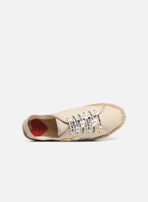 Espadrilles Love Moschino Rope Multi Hearts Lace Up Beige vue gauche