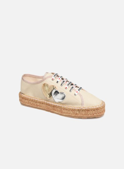 Espadrilles Love Moschino Rope Multi Hearts Lace Up Beige vue détail/paire