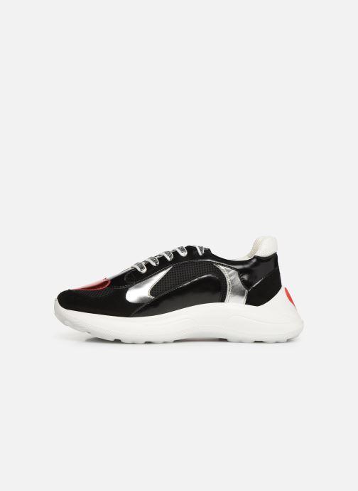 Sneakers Love Moschino New Running Heart Zwart voorkant