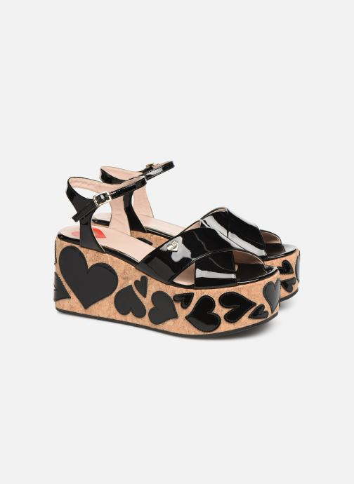 Sandals Love Moschino Heart Patchwork Sandal Black 3/4 view