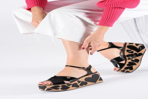 Sandals Love Moschino Heart Patchwork Sandal Black view from underneath / model view