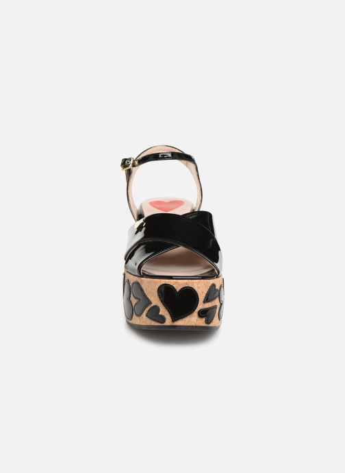 Sandals Love Moschino Heart Patchwork Sandal Black model view