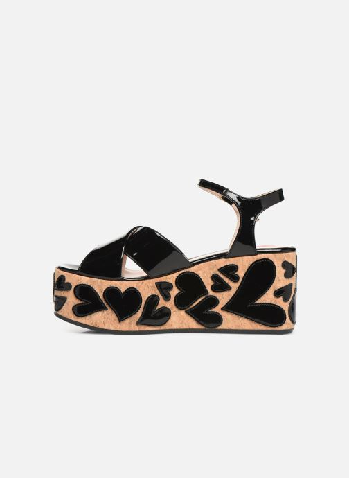 Sandals Love Moschino Heart Patchwork Sandal Black front view