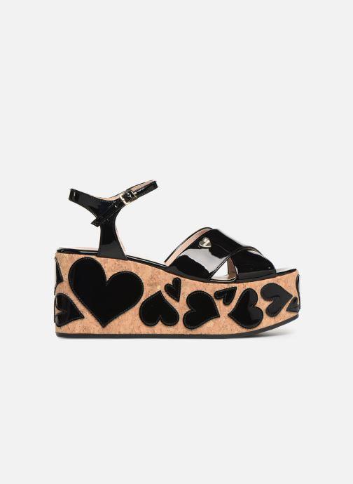 Sandalias Love Moschino Heart Patchwork Sandal Negro vistra trasera