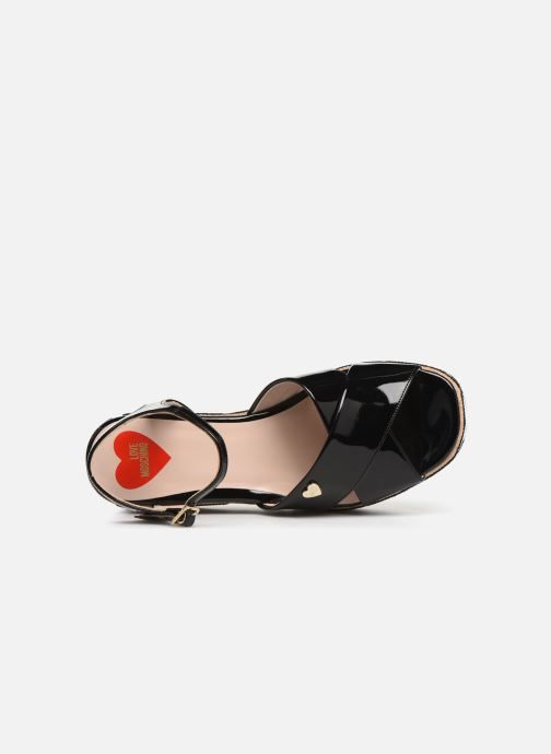 Sandalen Love Moschino Heart Patchwork Sandal Zwart links